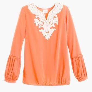 CHICO'S Embellished Popover Orange Blouse~3/XL